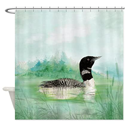 CafePress Watercolor Common Loon On Lake Bird Shower Curtain Decorative Fabric 69quot