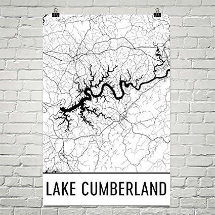 Amazon.com: Modern Map Art Lake Cumberland Kentucky, Lake Cumberland ...