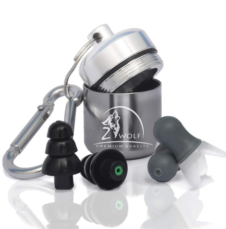 Zwolf Ear Plugs Noise Cancellingによって設定再利用可能な耳栓for Sleeping ProfessionalミュージシャンナイトクラブコンサートFestival Industrial Work Shooting水泳  グレー B07FLZX7FT