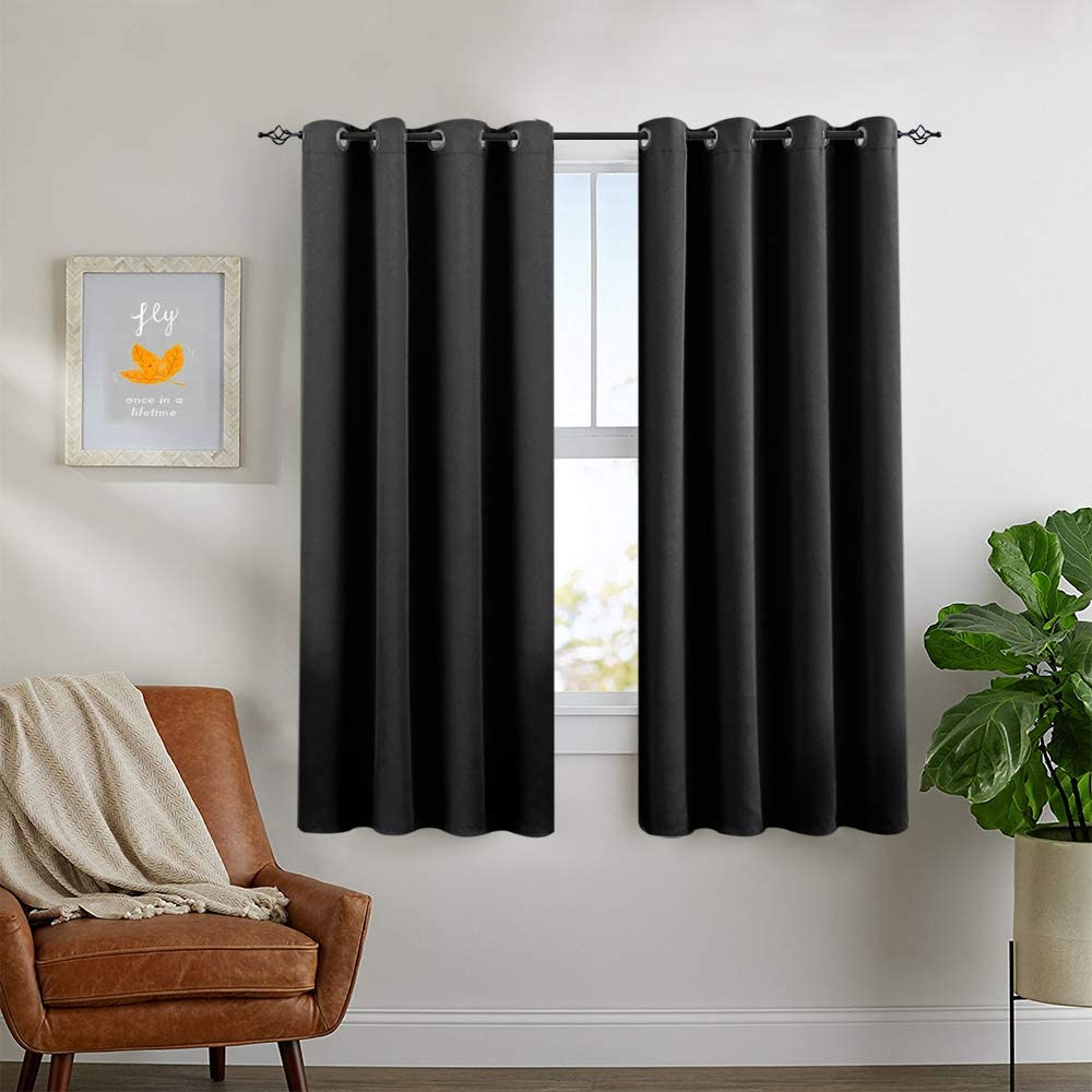 Black Blackout Window Curtains for Living Room Thermal Insulated Triple Weave Grommet Curtain Panels for Bedroom 1 Pair 63 inch