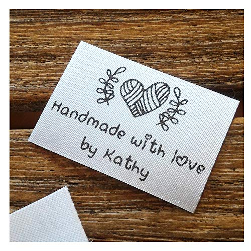 (Qty 100 Iron on Clothing Label Sewing Custom Name tag Heart Ball of Yarn Design Handmade with Love by Business Name Text Logo Personalized Soft Satin Ribbon Waterproof Washable Label Size 1.2