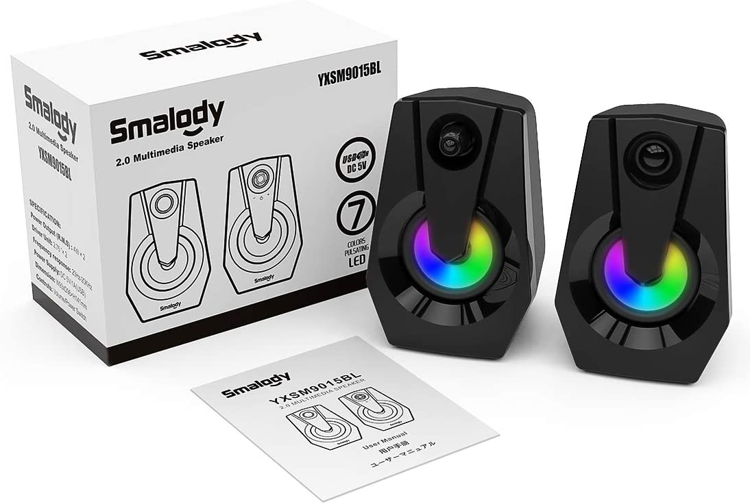Desktop-Lautsprecher Stereo Smalody Stereo 2.0 USB-Multimedia-Lautsprecher mit Lautst/ärkeregler Stromversorgung /über USB PC Laptop