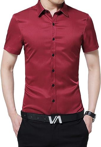 Camisa de Oficina para Hombre Camisa Casual de Manga Corta Top de Color Sólido Camisas de Trabajo Suave Cómodo Rojo S: Amazon.es: Ropa y accesorios