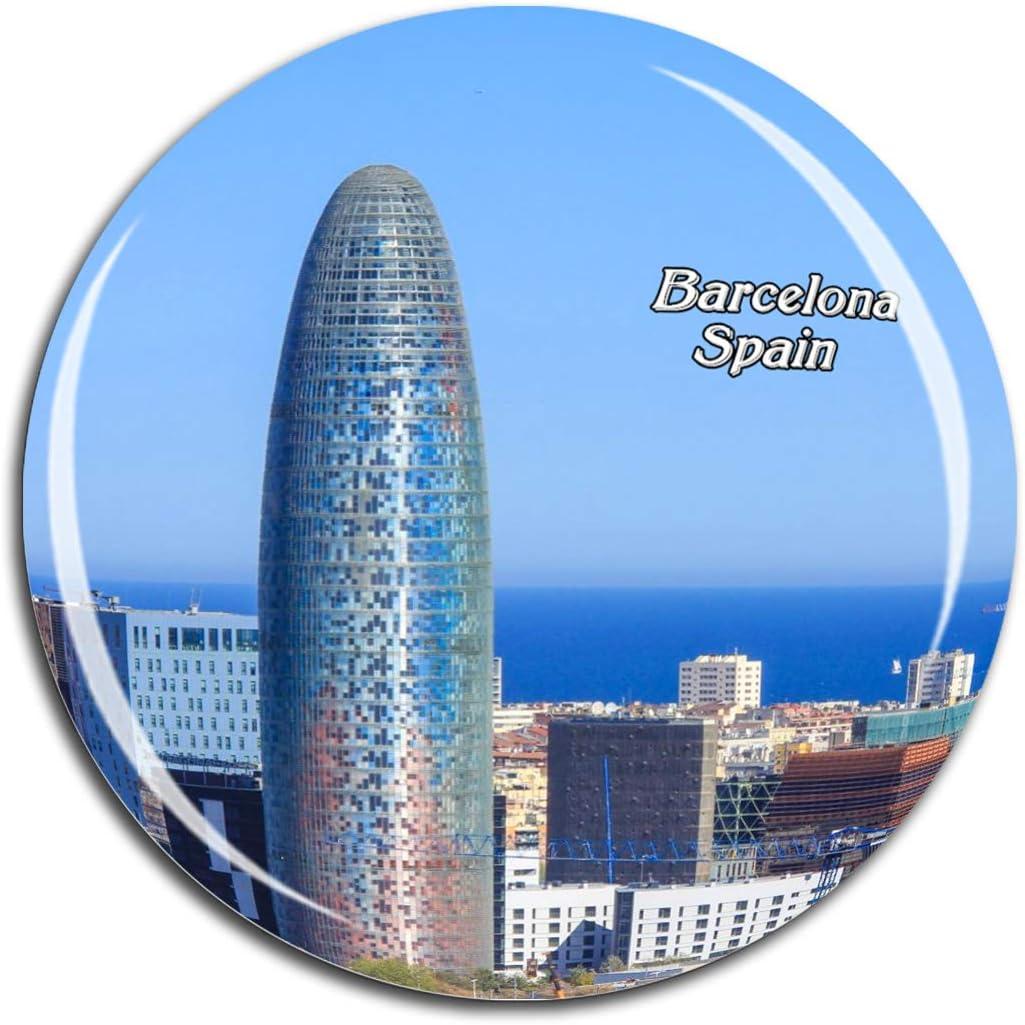 Weekino Torre agbar españa Barcelona Imán de Nevera 3D de Cristal de Turismo de la Ciudad de Viaje Recuerdo de la Colección de Regalo Fuerte Etiqueta Engomada del refrigerador: Amazon.es: Hogar