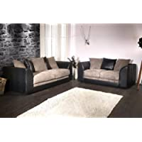 Joshua 3 + 2 Seater Sofa Set Rino Suede Leather & Jumbo Cord Fabric Scatter Back