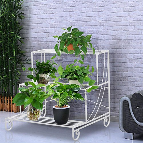 Topeakmart 3 Tier Plant Stands Metal Flower Pot Holder Indoor/Outdoor Wrought Iron Plant Display Stand Multi Level Decorative Shelves White