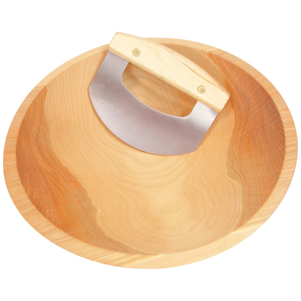 15'' Hardwood Chopping Bowl & Mezzaluna Ulu, Handcrafted in the USA, #1 Quality Salad Bowl