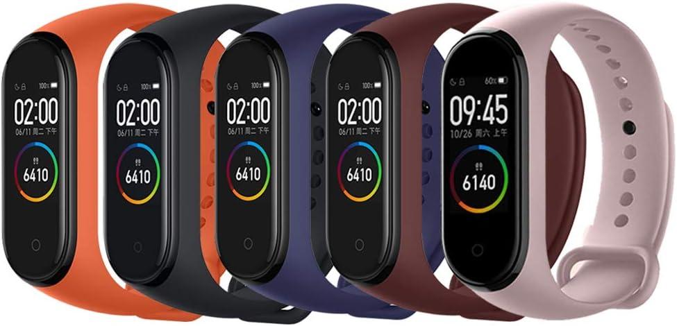 Acalder Compatible con Mi Smart Band 4,5 Piezas Correa para Xiaomi Mi Band 3/4 Pulsera Banda - Silicona Reloj de Recambio Brazalete Coloridos Correas para Xiaomi Mi Band 3 Mi Smart Band 4