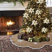 AerWo Arpillera Copo de nieve Árbol de Navidad Ornamento de la falda Diámetro de 48 pulgadas Decoración de Navidad Año Nuevo Fuente de la fiesta