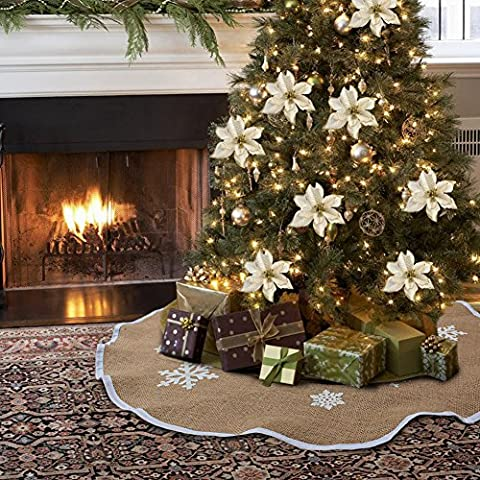 AerWo Burlap Snowflak Christmas Tree Skirt Ornament 48inch Diameter Christmas Decoration New Year Party - Design Christmas Tree Skirt