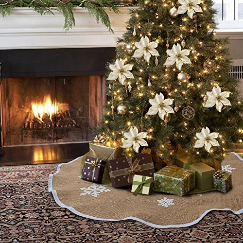 AerWo Burlap Snowflak Christmas Tree Skirt Ornament 48inch Diameter Christmas Decoration New Year Party Supply