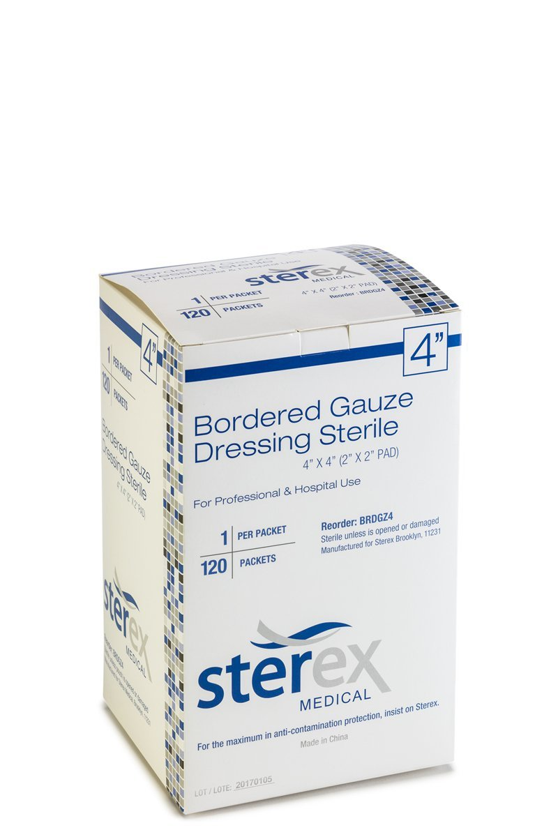 STEREX Bordered Gauze 4X4 STERILE 120/BX by Sterex