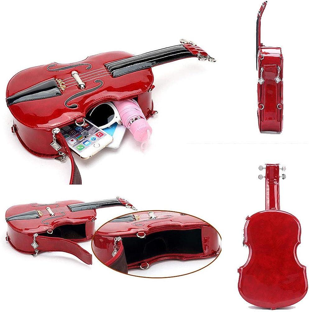 AAFLY Donne Crossbody Borsa retrò borse a forma di violino in vetrina Sling Bag Portable diagonale pacchetto Messenger Bag Red
