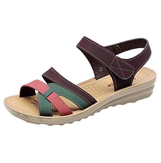 b840216b9d9 Women Pu Leather Work Sandals Velcro Shoes Wedges Hollow Out Mixed Color  Peeptoe Shoes JHKUNO Coffee