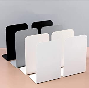 Kimmer Metal Book Ends Bulk of 8 - Non-Skid Book Holders for Shelves, Desk - Heavy-Duty Bookends for Heavy Books, Magazines, DVDs