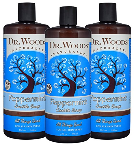 Dr. Woods Pure Peppermint Liquid Castile Soap, 32 Ounce (Pack of (Peppermint Herb Extract Liquid)