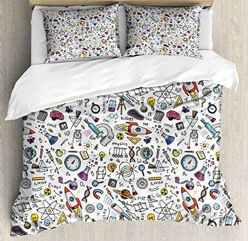 Ambesonne Educational Duvet Cover Set, Science School Pattern with Formulas Laboratory Elements Physics Mathematics, Decorative 3 Piece Bedding Set with 2 Pillow Shams, Queen Size, White Grey
