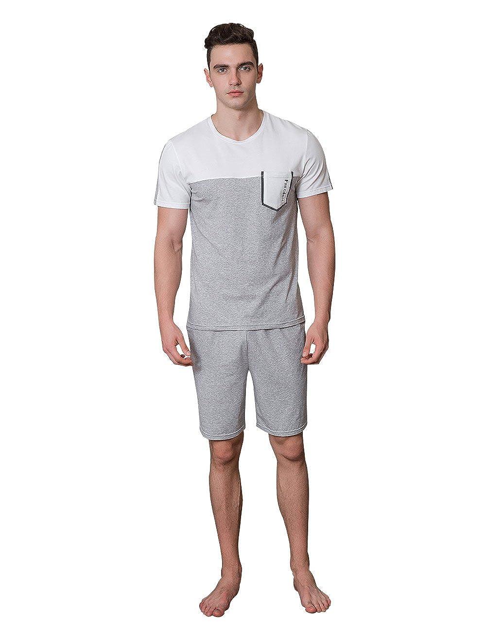 Sunshine Chow Hombres Corto Simple y Natural de manantial Modal Pijama de algodón Ropa de casa: Amazon.es: Ropa y accesorios