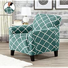 Modern Velvet Plush Strapless Slipcover. Form Fit Stretch, Stylish Furniture Shield / Protector. Magnolia Collection Strapless Slipcover by Great Bay Home Brand. (Chair, Aqua)