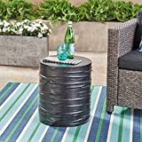 Great Deal Furniture Aubree Outdoor 16'' Light-Weight Concrete Side Table, Black