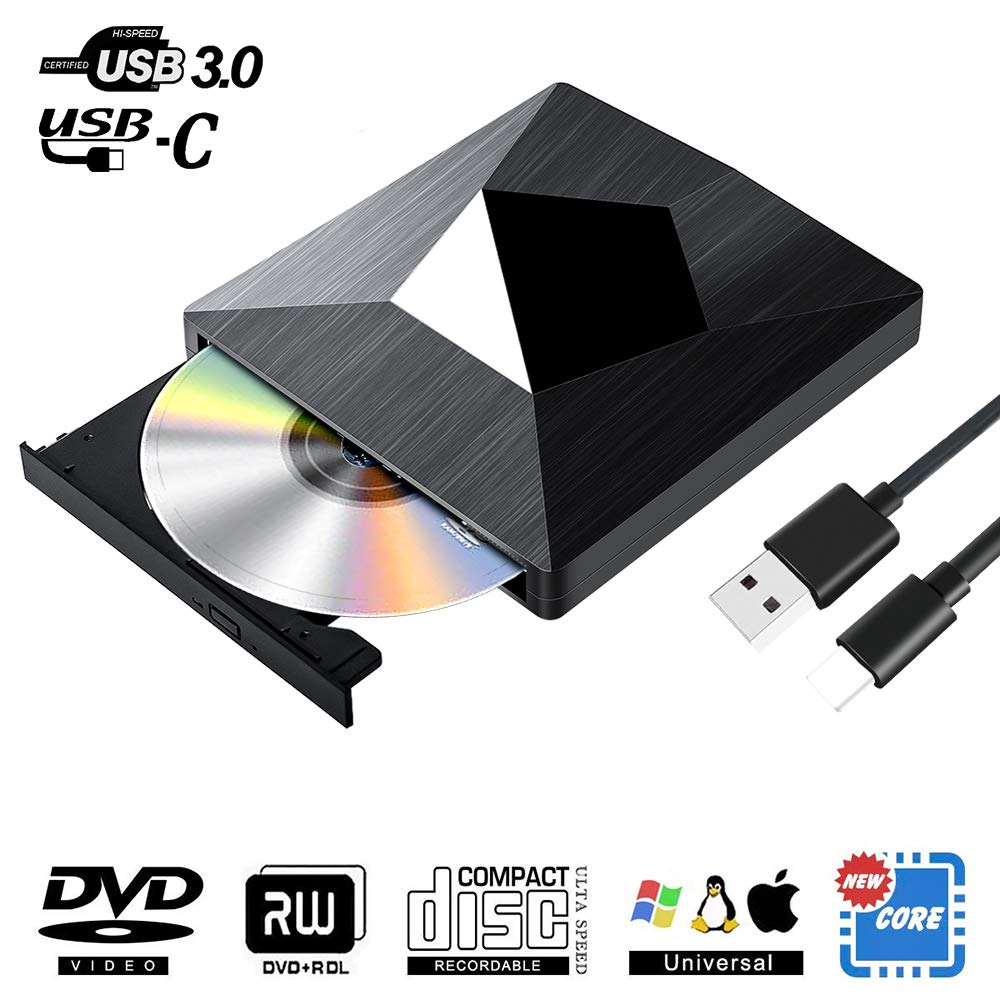 External CD DVD Drive, Dual USB C and USB 3.0 Superdrive Optical Drive Portable CD/DVD +/-RW Burner for Mac OS Windows Linux Chromebook MacBook