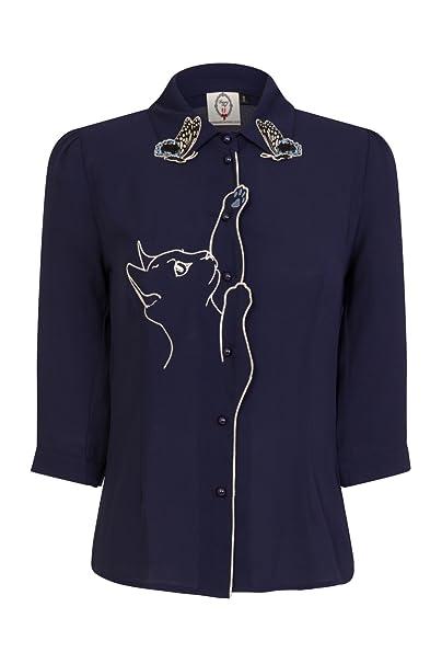 Blusa de mujer Snow Bird con gato y mariposas azul marino ...