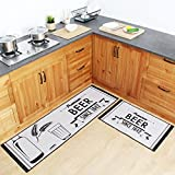 Ustide American Beer Washable Bathroom Rugs Large 2 Piece Non-slip Rubber Backing Kitchen Mats