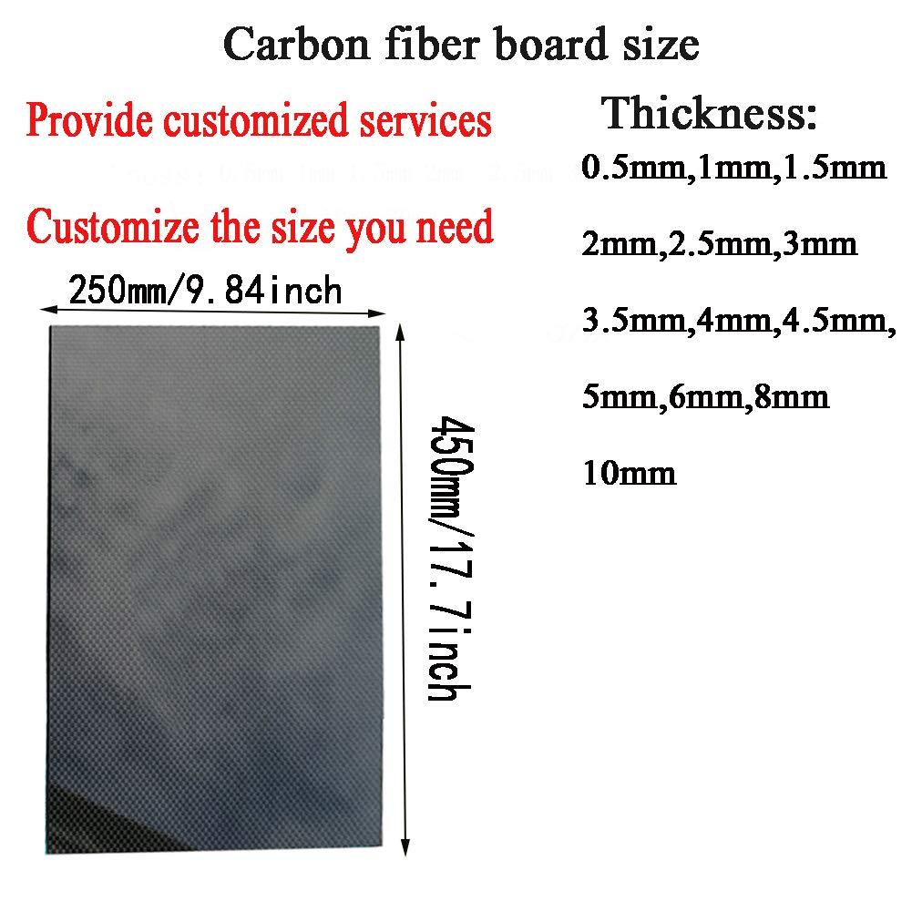 SOFIALXC 3K Pannelli in Fibra di Carbonio Normale per Telaio per Drone Fai da Te ECC.(Plain Weave Panel,Tessuto liscio-Thick6mm250mmx450mm