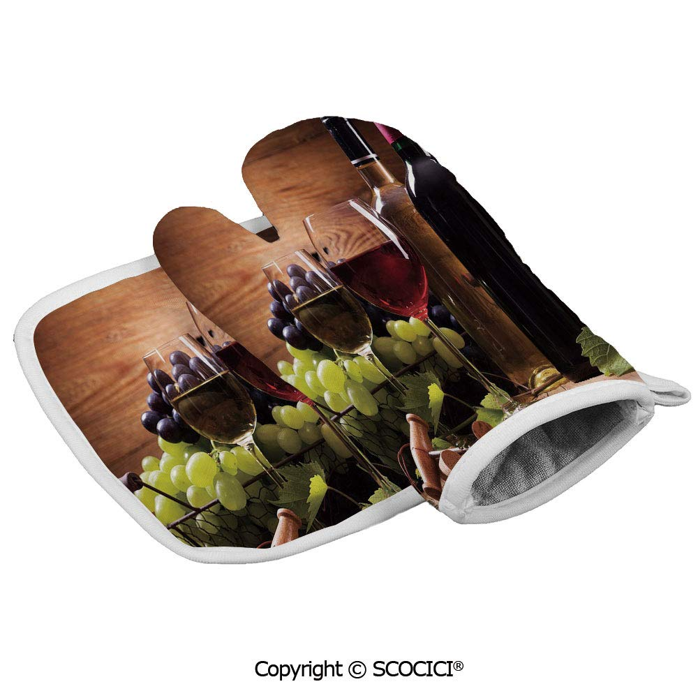 SCOCICI Oven Glove Microwave Glove Glasses of Red and White Wine Served with Grapes French Gourmet Tasting Barbecue Glove Kitchen Cooking Bake Heat Resistant Glove Combination