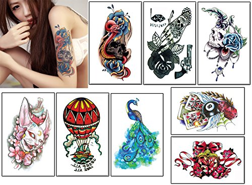 (8 Sheets Colorful Temporary Tattoos, Animal Fake Waterproof Tattoo Stickers-For Adults or Kids(By)