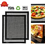 BBQ Grill Mat- Non Stick BBQ Grilling Mats- Heat Resistant, Heavy Duty, Durable, Reusable, and Easy to Clean Baking Mats for Electric Grill Gas Charcoal BBQ- Extended Warranty 16'' x13'' (Black Mesh)