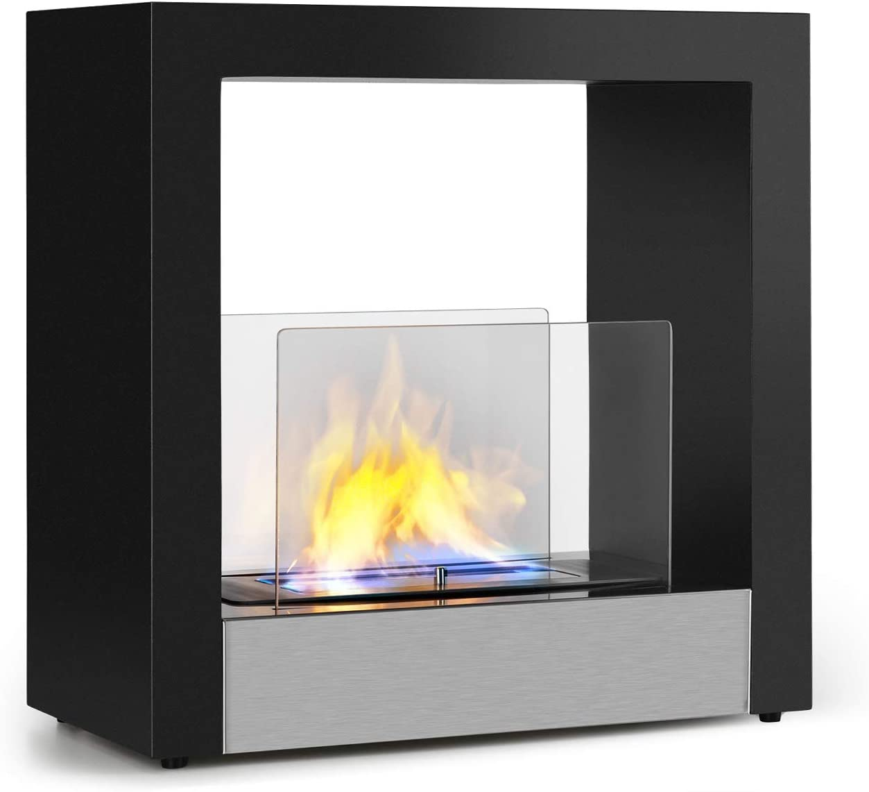 Klarstein Phantasma Cube Ethanol-Kamin Feuerstelle L/ösch-Hilfe 1,3 Liter Tank Edelstahl /& Glas ca rauch- /& geruchsloser Bio-Ethanol-Brenner aus Edelstahl 4 Stunden Brenndauer schwarz
