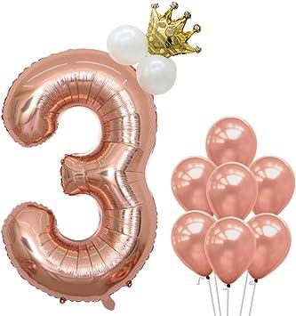 Amazon.com: Globo número 1 de oro rosa de 40.0 in ...