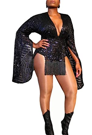 4a6a6174c5f6 Chemenwin Women's Sexy Deep V Neck Long Sleeve Sequin Giltter Side Slit  Club Bodycon Tight Short