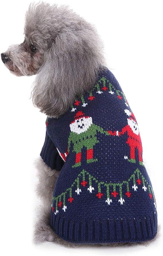 Hengu Jersey de Algodón de Punto de Navidad para Perros Gatos, Prendas de Punto Disfraz Sudadera Capucha Chaqueta Equipo Ropa Lindas para Cachorro Perro Mascota Pequeño Invierno Cálido: Amazon.es: Productos para mascotas