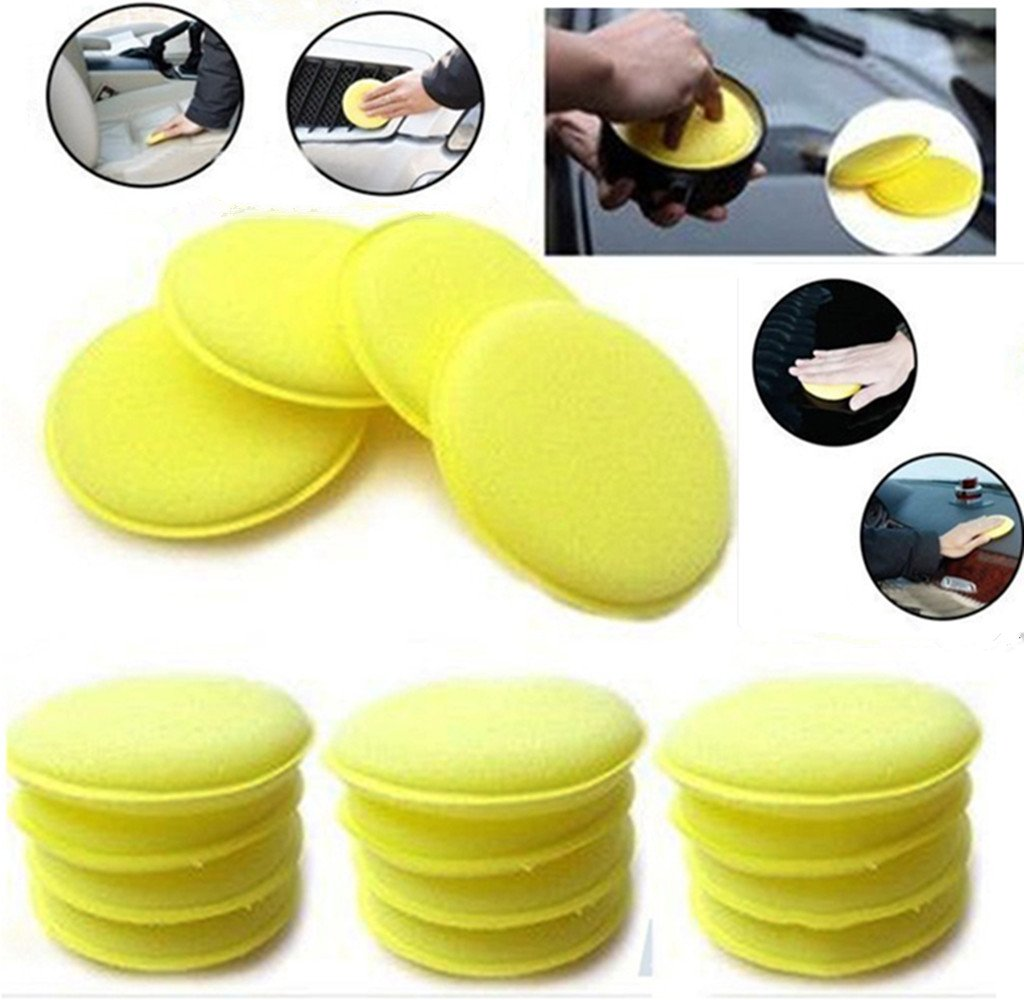 WildAuto - Car Waxing Polish Sponge - Wax Foam Applicator Pads - For Clean Cars Vehicle , Glass , Shoes - 12 pcs (Yellow)
