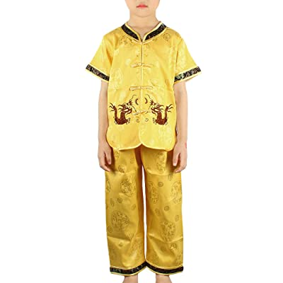 Andux Land Dragon Kungfu Outfit Embroidery Dragon Suit Chinese Tang Clothes GFTZ-01: Clothing