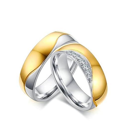 Bishilin pareja precio Anillos de Acero Inoxidable Hombres Mujeres Alto Pulido Ronda Zirconia 6MM Anillo de