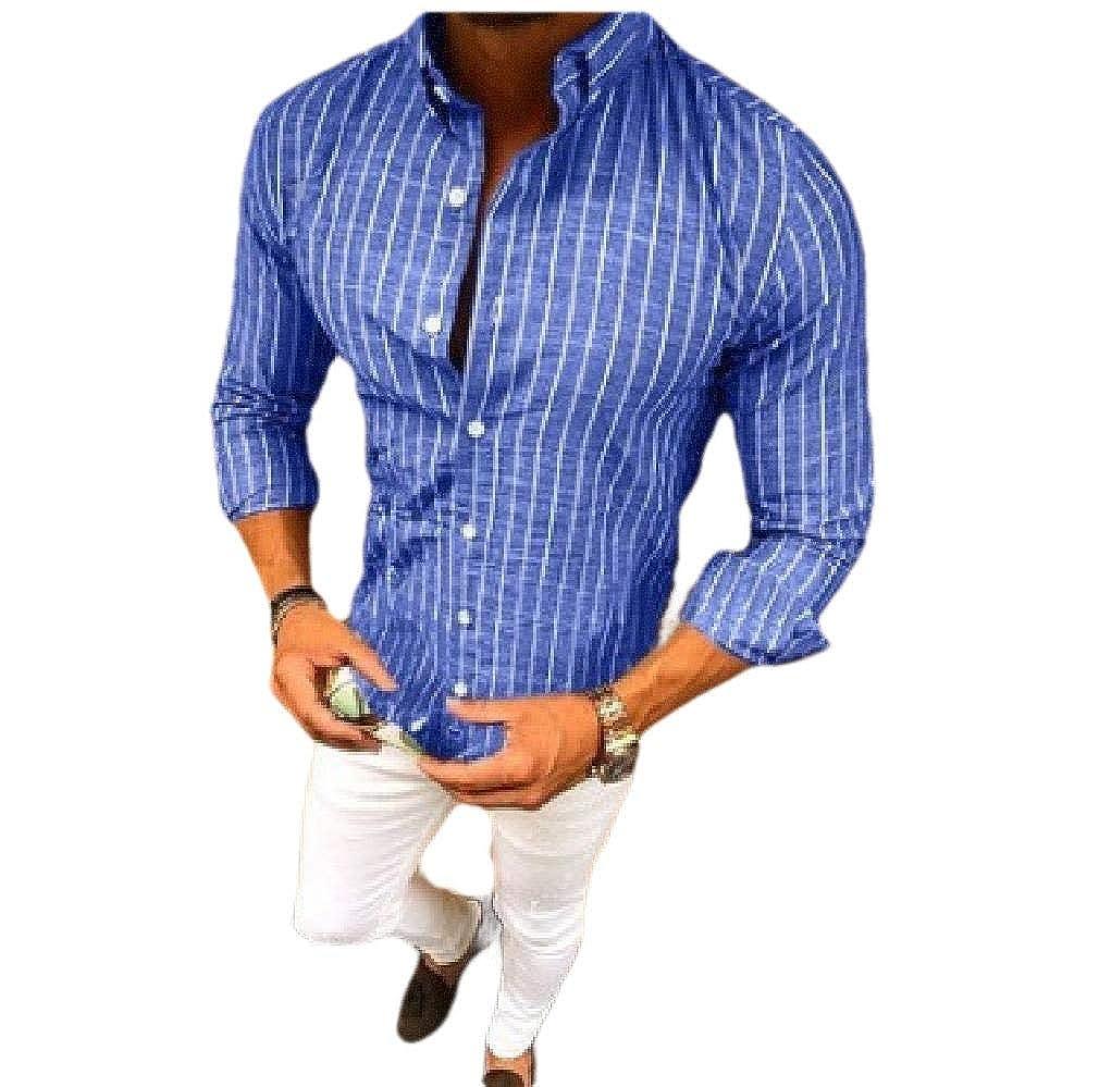 Zimaes-Men Button Oversized Lounge Strip Long Sleeve Lapel T-Shirts Shirt