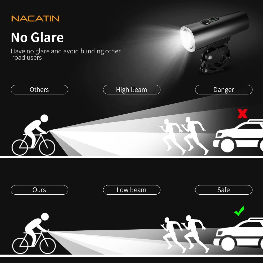Luz Bicicleta, NACATIN Linterna Bicicleta Set 2 en 1 USB Recargable, Faro Delantero con 5 Modos y Lo Trasero 4 Impermeable, Visualización de Potencia, Seguridad para Ciclistas, Brillante hasta 600LM: Amazon.es: Deportes