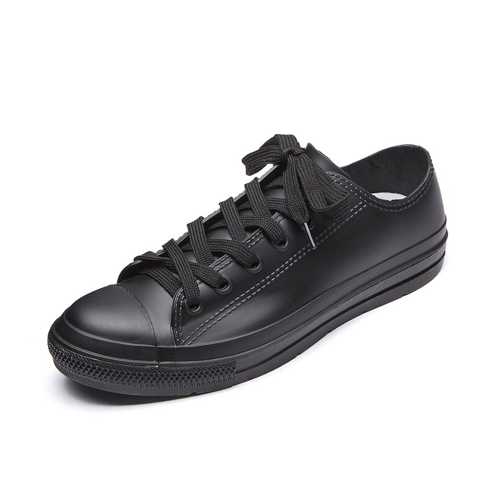 DKSUKO Casual Rain Shoes Women Waterproof Sneakers with Shoelace Tenis Feminino Flat Shoes Color 9 KWA01 (8 B(M) US, Black)