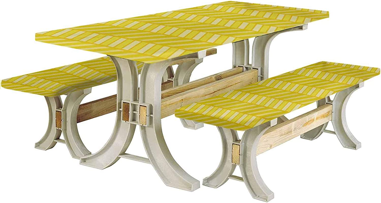 LCGGDB Yellow Chevron Picnic Table & Benches Cover,Vertical Retro Chevron Motif in Yellow Color Tones 72