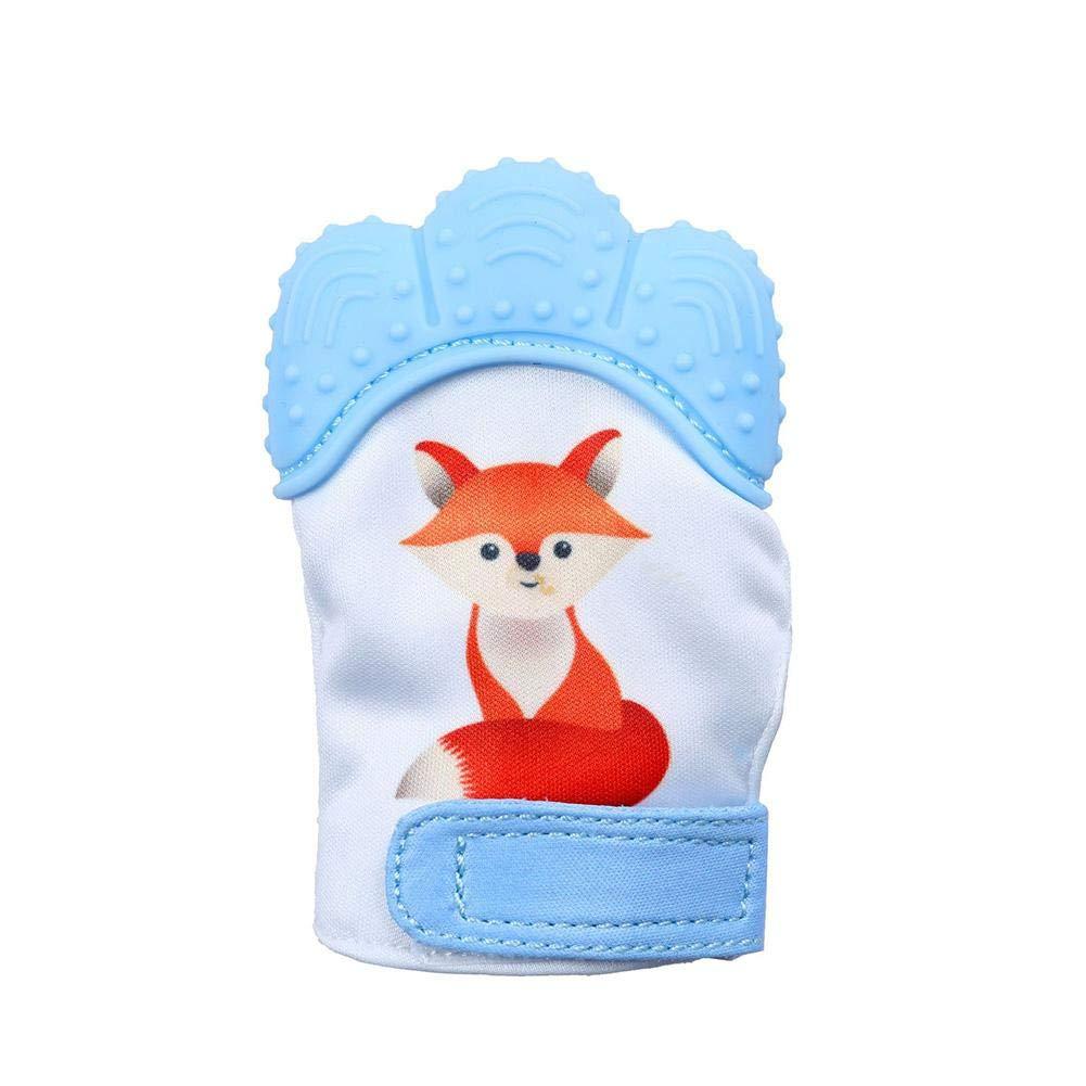 Eternitry Mitaines de Dentition Gant de b/éb/é en Silicone Anti-Morsure Gants Toy Fox imprim/é Dentition b/éb/é Jouets pour Enfants Filles m/âche Sucette /Âge 3-12 Mois