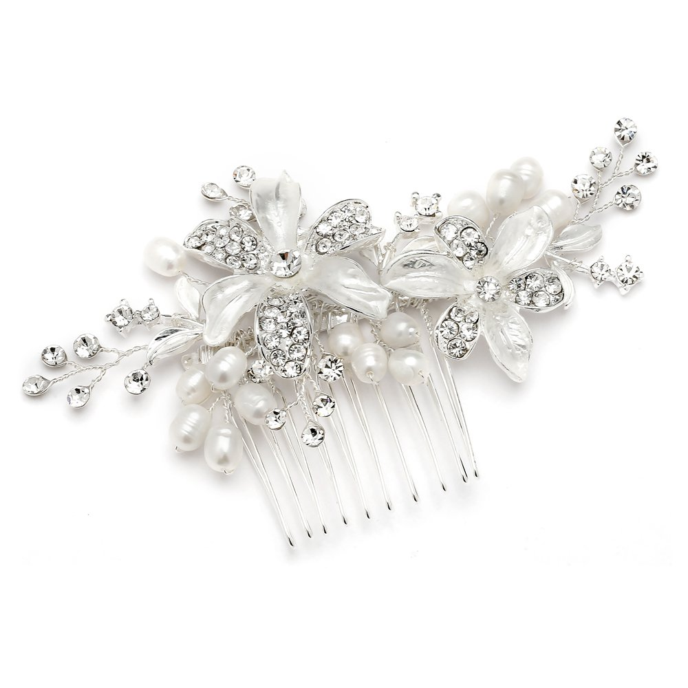 Mariell Bridal Hair Comb for Brides with Freshwater Pearl, Hand-Painted Enamel Leaves & Austrian Crystals by Mariell