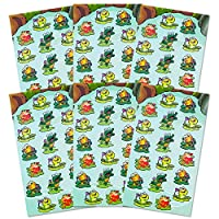Frog Stickers Party Supplies Pack -- Over 108 Frogs Stickers (6 Party Favor Sheets)