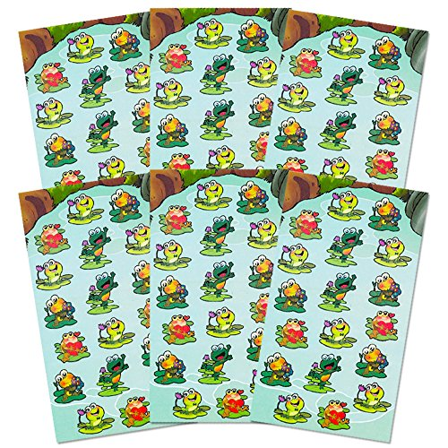 Supplies Pack -- Over 108 Frogs Stickers (6 Party Favor Sheets) (Frog Decorative Fan)