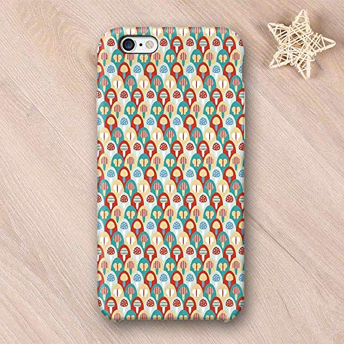 Mushroom No Odor Compatible with iPhone Case,Colorful Abstract Cartoon Style Retro Composition with Toadstools and Butterflies Compatible with iPhone 7/8 Plus,iPhone ()
