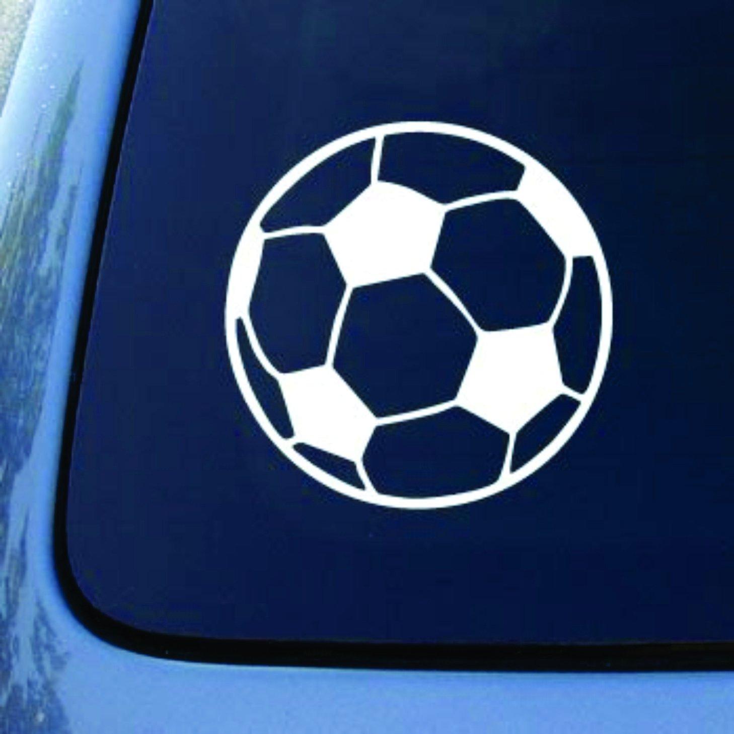 """Soccer Ball - Football - Car, Truck, Notebook, Vinyl Decal Sticker (5.5"""", White)"""