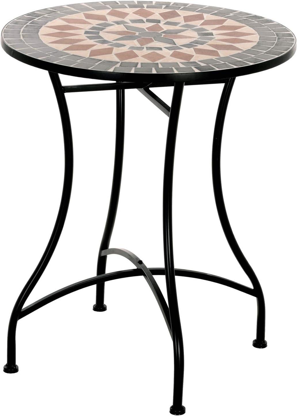 MACOShopde by MACO M/öbel Mosaik Gartentisch Mosaiktisch Pia rund /ø 60 Balkon//Terrassen-Tisch mit einzigartigem Muster Mehrfarbig Stahl