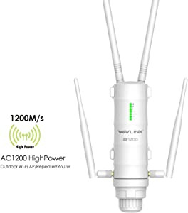 Dual Band 2.4+5 GHz 802.11AC 1200Mbps Outdoor WiFi Range Extender Signal Booster, WAVLINK 3 in 1 Weatherproof Wireless PoE Access Point (AP)/ Exterior Router/Network Repeater Internet Amplifier